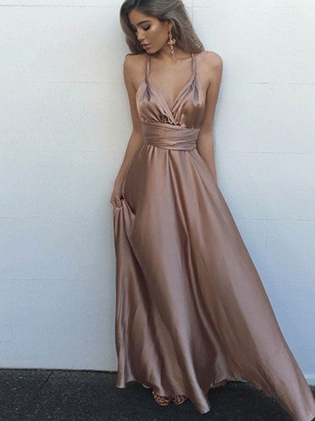A-Line Spaghetti Straps Silk like Satin Floor-Length Sash/Ribbon/Belt Prom Dresses