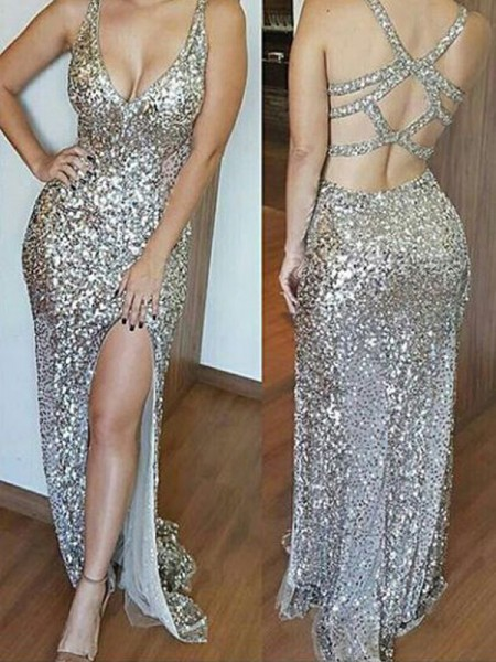 Sheath V-neck Sweep/Brush Train Sequins Prom Dresses