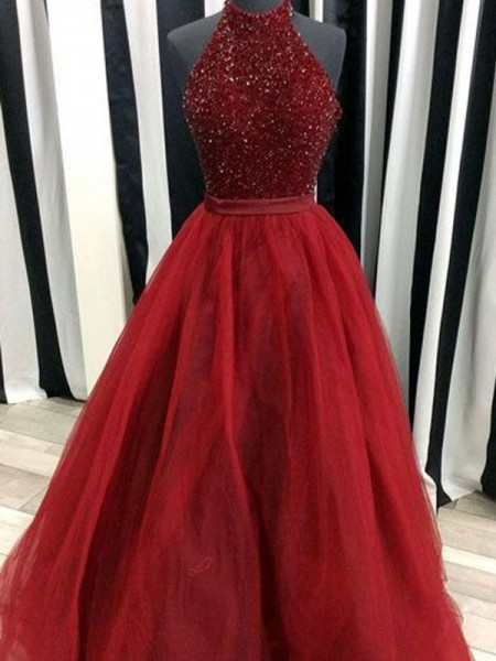 High Neck Floor-Length Beading Organza Ball Gown Prom Dresses