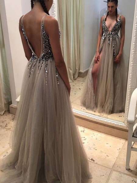 A-Line V-neck Tulle Paillette Sweep Train Prom Dresses