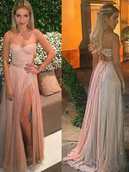 A-Line Sweetheart Floor-Length Lace Chiffon Prom Dresses