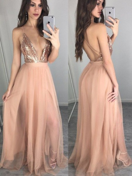 A-Line Spaghetti Straps Chiffon Floor-Length Sequin Prom Dresses