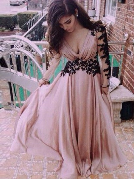 A-Line V-neck Chiffon Applique Floor-Length Prom Dresses