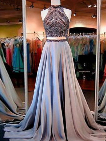 A-Line High Neck Satin Beading Sweep/Brush Train Two Piece Prom Dresses