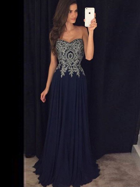 A-Line Sweetheart Floor-Length Chiffon Applique Prom Dresses