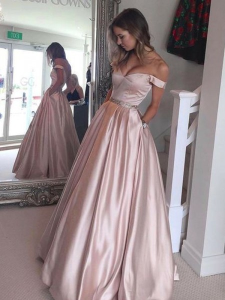 A-Line Off-the-Shoulder Floor-Length Satin Dresses