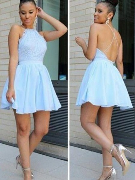 A-Line Halter Lace Short/Mini Chiffon Homecoming Dresses