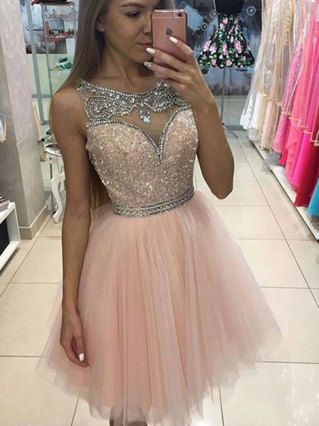 A-Line Scoop Beading Short/Mini Tulle Homecoming Dresses