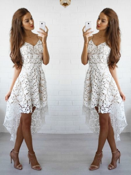 A-Line Spaghetti Straps Lace Short/Mini Homecoming Dresses