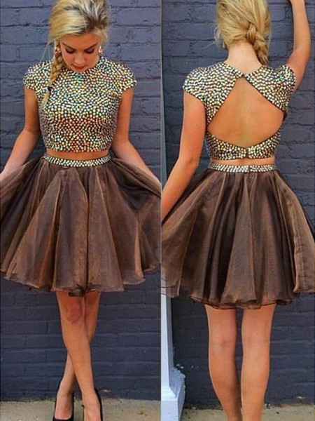 A-Line Scoop Beading Short/Mini Organza Two Piece Homecoming Dresses