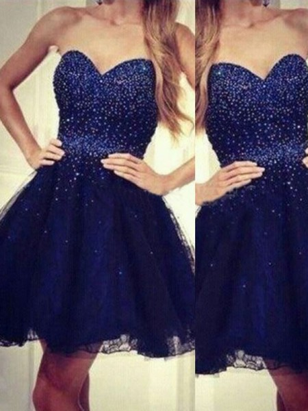 A-Line Sweetheart Beading Short/Mini Tulle Homecoming Dresses