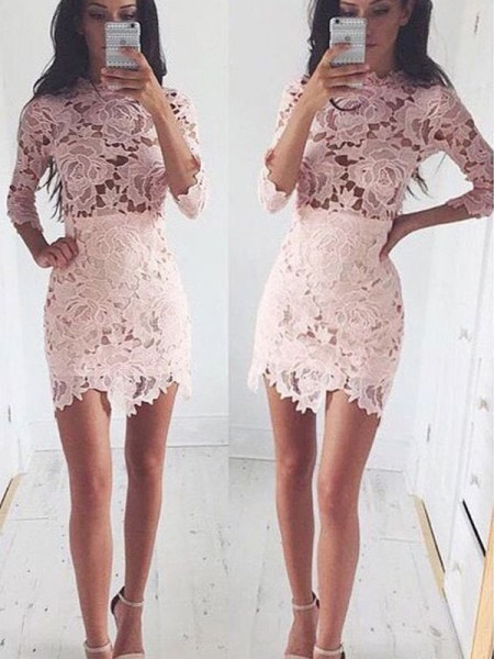 A-Line Scoop Lace Short/Mini Homecoming Dresses