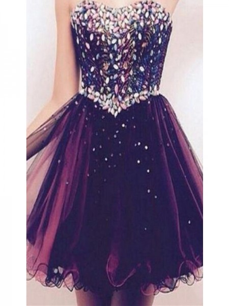 A-Line Sweetheart Rhinestone Tulle Short/Mini Homecoming Dresses