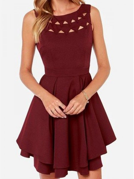 A-Line Scoop Jersey Short/Mini Homecoming Dresses