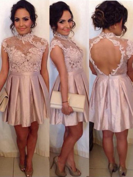 A-Line High Neck Lace Satin Short/Mini Homecoming Dresses