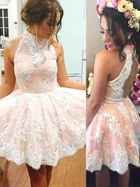 A-Line High Neck Lace Short/Mini Homecoming Dresses