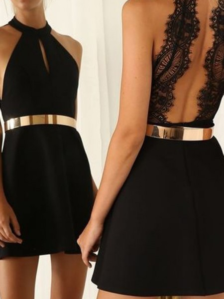 A-Line Halter Lace Jersey Short/Mini Homecoming Dresses