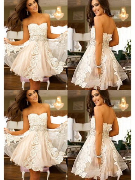 A-Line Sweetheart Applique Tulle Short/Mini Homecoming Dresses