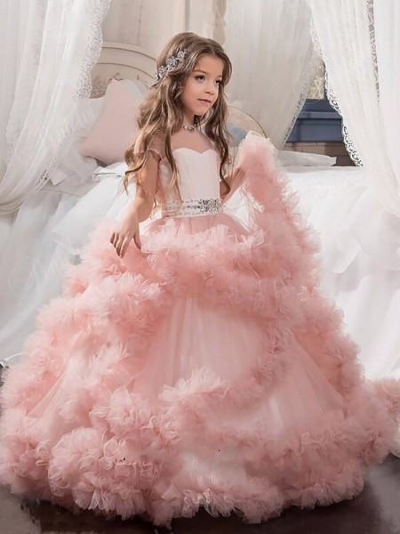 Jewel Crystal Floor-Length Tulle Ball Gown Flower Girl Dresses