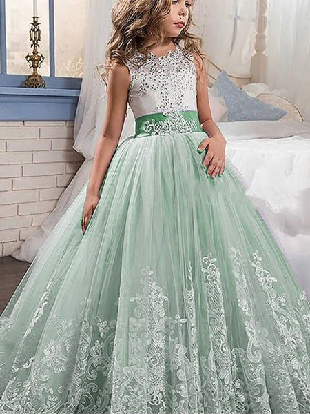 cf014057b58 Jewel Lace Sweep Brush Train Tulle Ball Gown Flower Girl Dresses ...