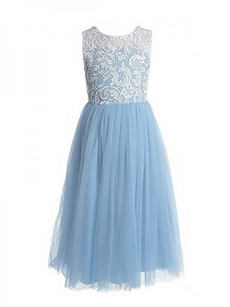 A-Line Jewel Lace Ankle-Length Tulle Flower Girl Dresses