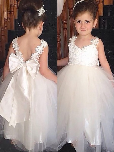7b0011ec6463 Sweetheart Bowknot Floor-Length Tulle Ball Gown Flower Girl Dresses ...