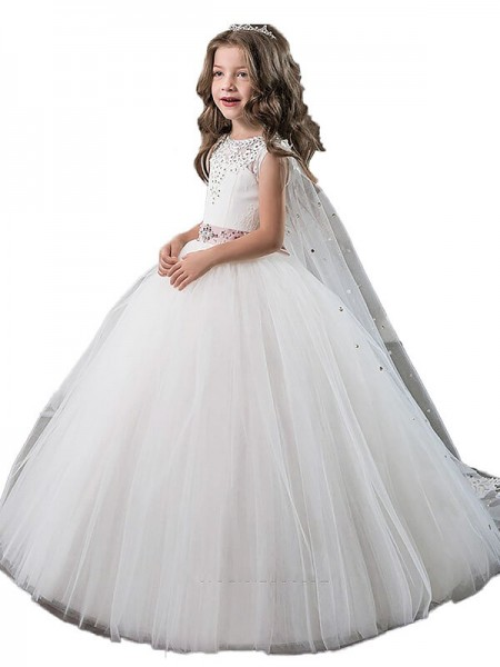 Jewel Beading Floor-Length Tulle Ball Gown Flower Girl Dresses