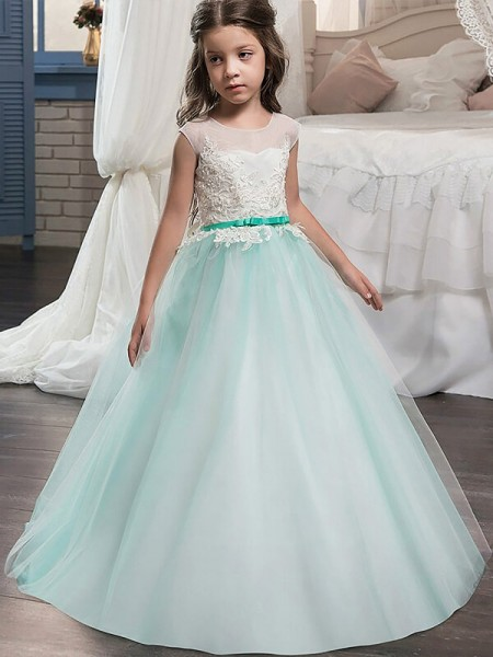Jewel Sash/Ribbon/Belt Floor-Length Tulle Ball Gown Flower Girl Dresses