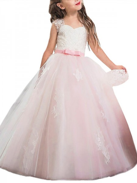 Sweetheart Bowknot Floor-Length Tulle Ball Gown Flower Girl Dresses