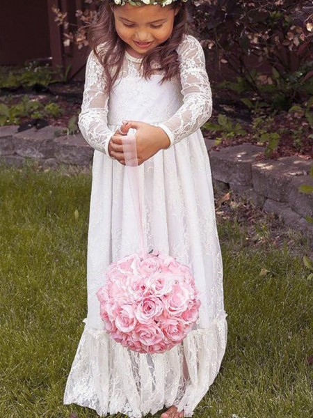 A-Line Jewel Bowknot Lace Floor-Length Flower Girl Dresses