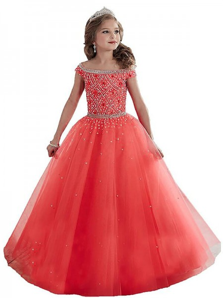 Off-the-Shoulder Beading Floor-Length Tulle Ball Gown Flower Girl Dresses