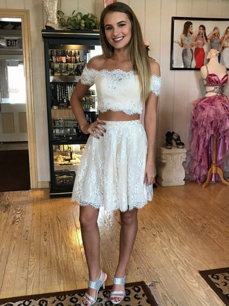 A-Line Off-the-Shoulder Short/Mini Lace Two Piece Prom Dresses