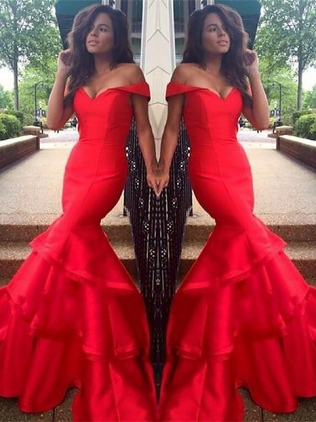 Mermaid Off-the-Shoulder Taffeta Layers Sweep/Brush Train Prom Dresses