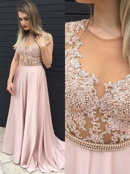 A-Line V-neck Satin Lace Floor-Length Prom Dresses
