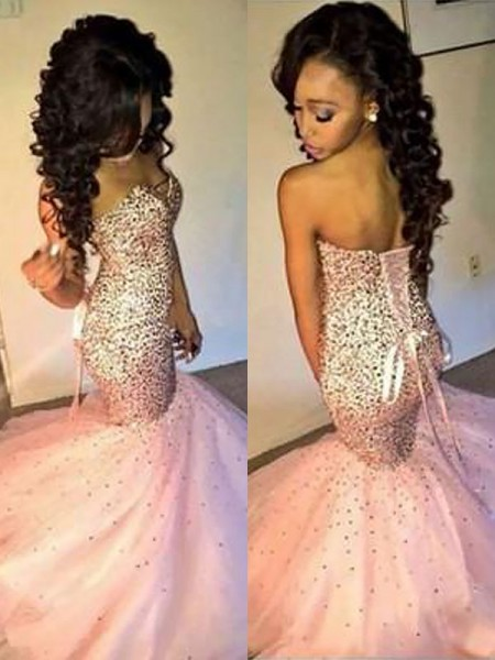 Mermaid Sweetheart Tulle Sequin Floor-Length Prom Dresses