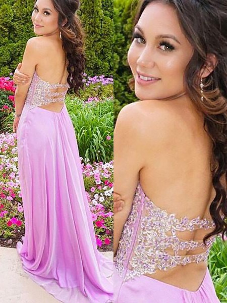 A-Line Sweetheart Chiffon Applique Sweep/Brush Train Prom Dresses