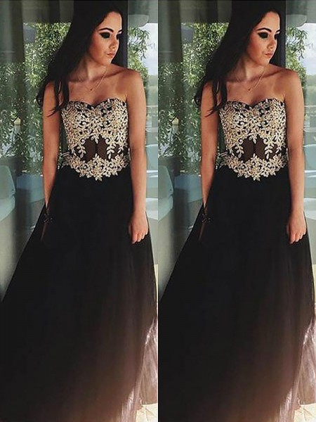 A-Line Sweetheart Tulle Applique Floor-Length Prom Dresses