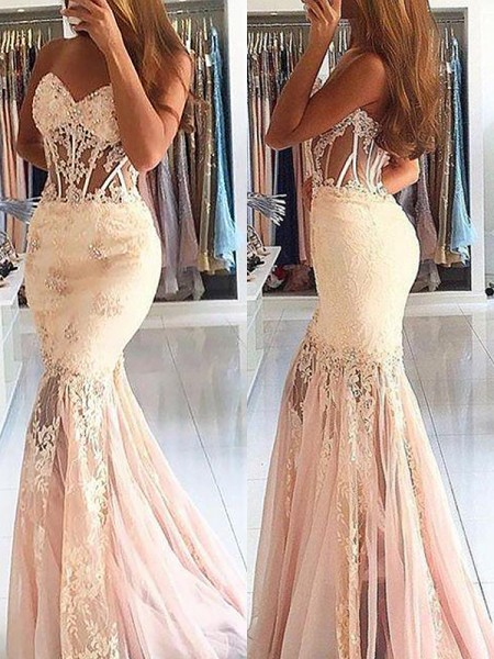 Mermaid Sweetheart Tulle Lace Sweep/Brush Train Prom Dresses