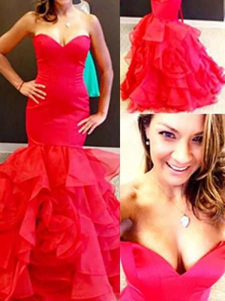 Mermaid Sweetheart Organza Layers Floor-Length Prom Dresses