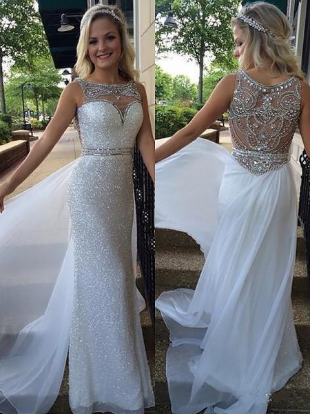 A-Line Bateau Beading Chiffon Sweep/Brush Train Prom Dresses