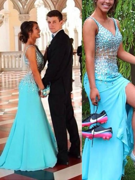 Mermaid V-neck Chiffon Beading Sweep/Brush Train Prom Dresses