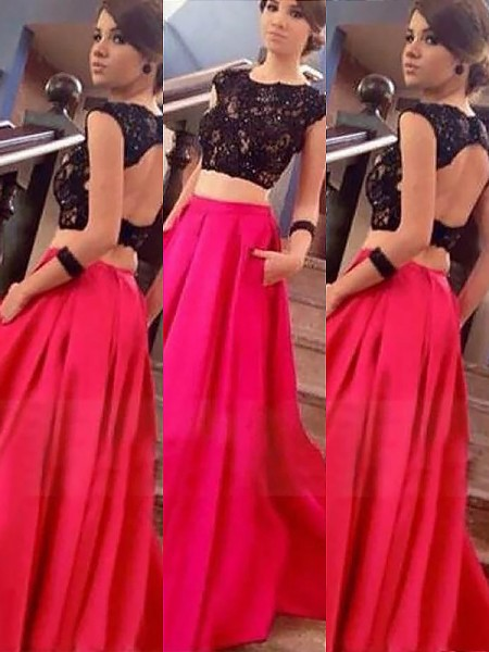 A-Line Bateau Satin Floor-Length Lace Two Piece Prom Dresses