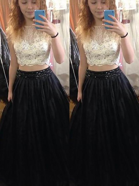 A-Line Bateau Tulle Floor-Length Beading Two Piece Prom Dresses