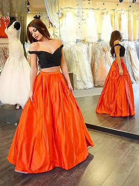 A-Line Off-the-Shoulder Taffeta Floor-Length Ruffles Two Piece Prom Dresses