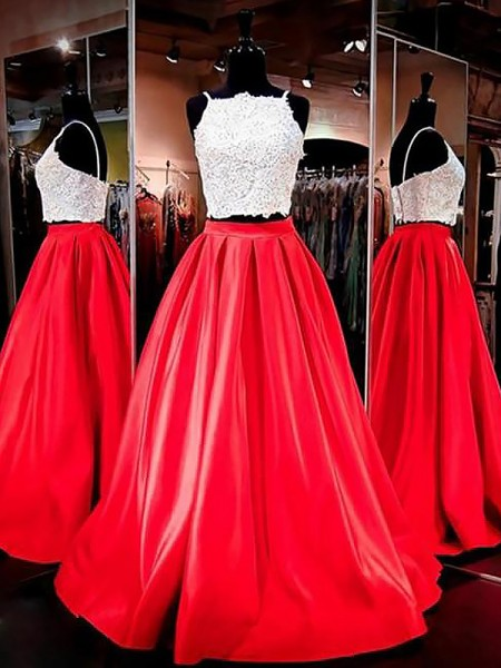 A-Line Spaghetti Straps Satin Floor-Length Lace Two Piece Prom Dresses