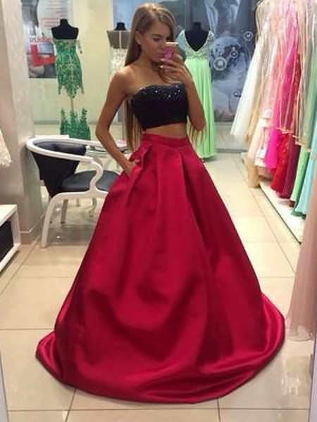 A-Line Strapless Tulle Floor-Length Beading Two Piece Prom Dresses