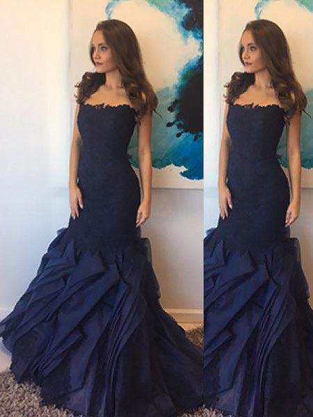 Mermaid Strapless Taffeta Lace Floor-Length Prom Dresses