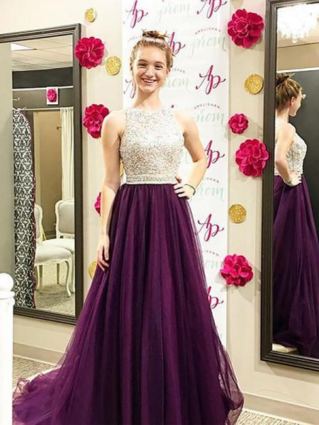 A-Line Bateau Sweep/Brush Train Beading Tulle Prom Dresses