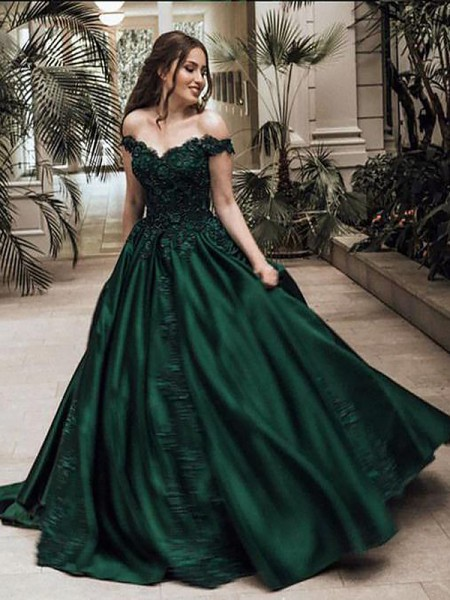 bf01148b44a3 Ball Gown Off-the-Shoulder Floor-Length Lace Satin Prom Dresses ...