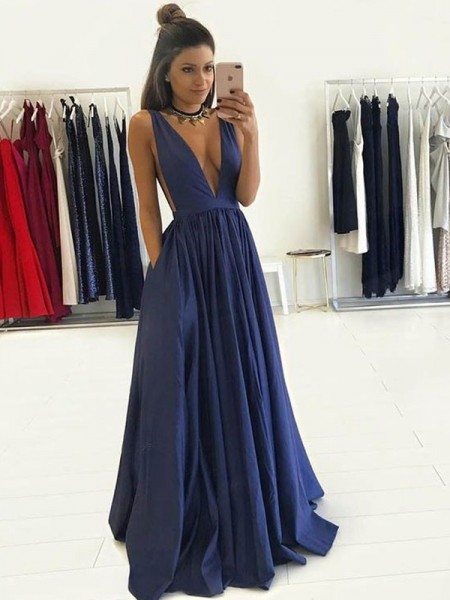 A-Line V-neck Floor-Length Taffeta Prom Dresses
